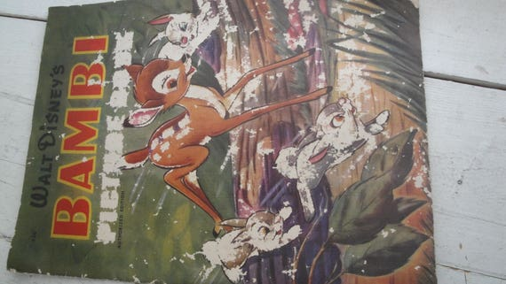 Disney Bambi Book Linen Full Color Pictures 1941 Etsy