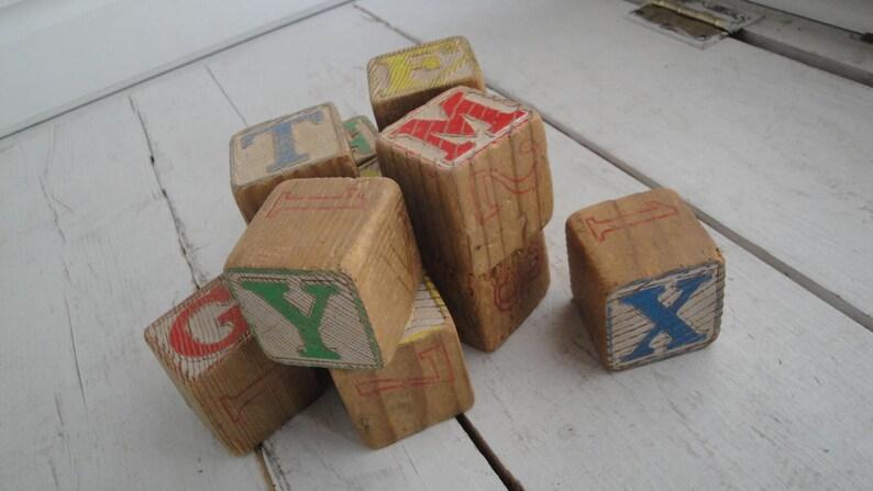 Vintage Large Wood Letter Blocks Set Of 12