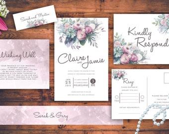 Floral Rustic Wedding Invitations Purple