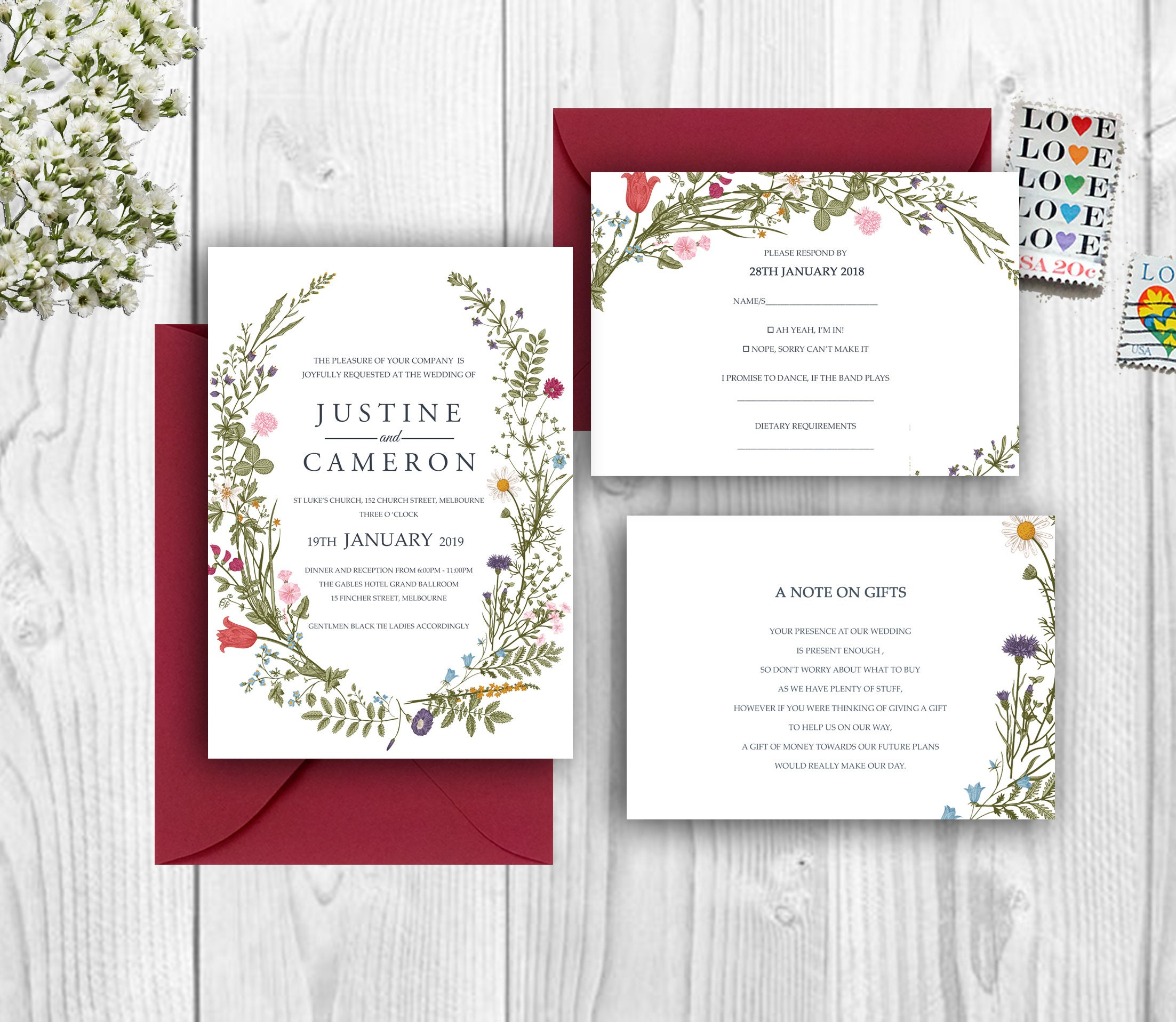 Boho Floral Wreath Wedding Invitation Set Print yourself Instant ...