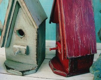 Wooden Birdhouse - Shabby - A Frame - Bird House - Rustic Home Decor - Cottage Chic - Garden Decor - Beach Decor