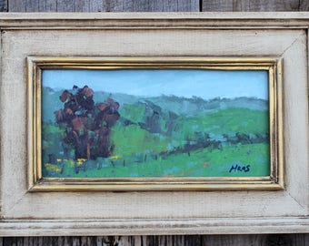 California Plein Air Landscape Oil Painting Original Wall Art Northern CA Iris Farm Vacaville Fairfield California Artist USA Made Artwork