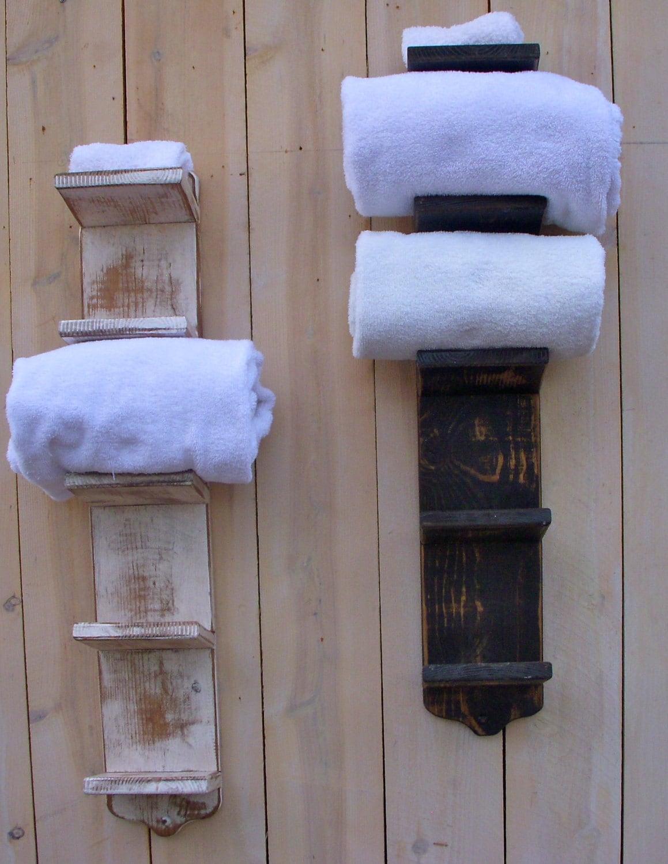 Wall Mounted Bath Towel Holder Wood Storage Towel Hanger