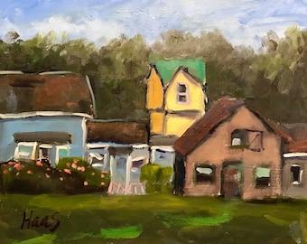 original oil painting landscape plein air mendocino village california coastal town
