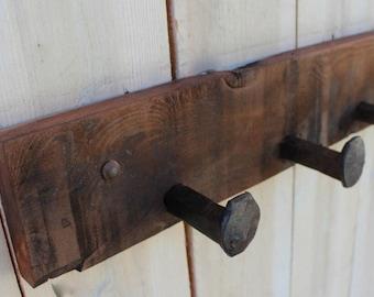 Wooden rack with spikes Shelf wood Coat rack hooks Reclaimed wood shelf Natural wood decor Rustic towel rack Housewarming USA 32 6 Spikes