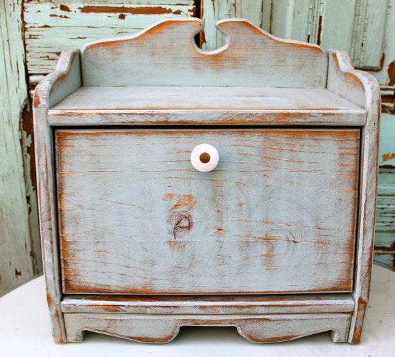 Country Kitchen Bread: Wood Bread Box French Country Kitchen Decor Countertop