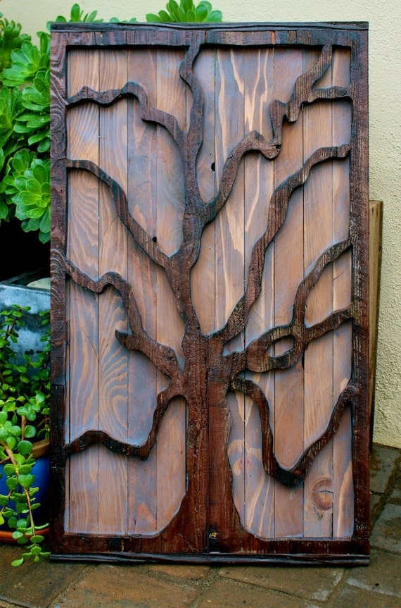 Wall Artwork Rustic Wall Tree Decor Distressed Wood Wall Etsy
