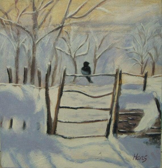 Impressionniste Art Peinture De La Pie Apres Monet Neige Etsy