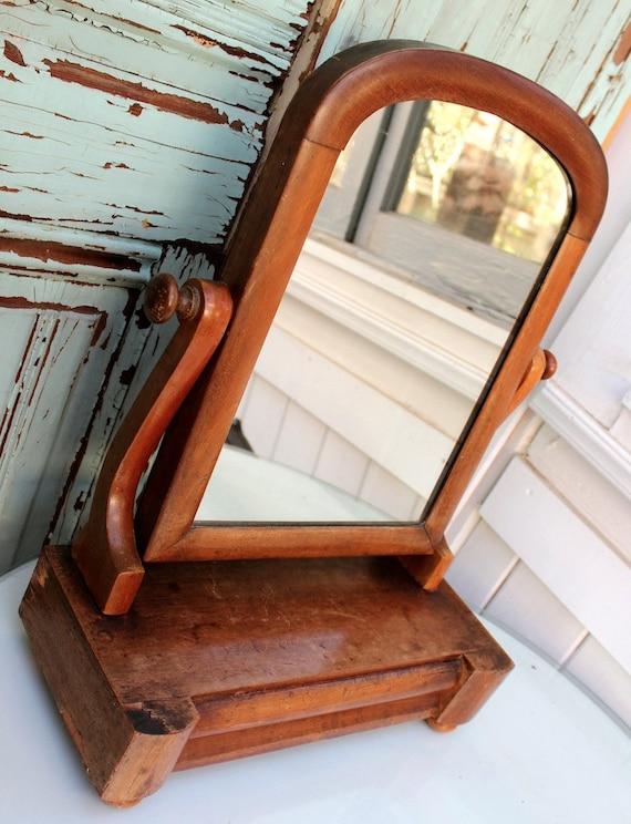 Antique Dresser Mirror Wood Drawer Jewelry Display Ladies Etsy
