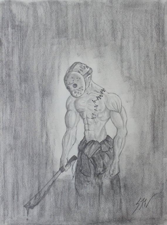 Original Pencil Drawing California Artist Horror Movie Etsy