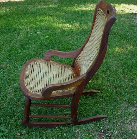 image 0 - Antique Rocker Vintage Rocking Chair Cane Seat Antique Etsy