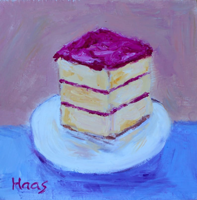 Original Oil Painting Cake Birthday Gift For Her Home