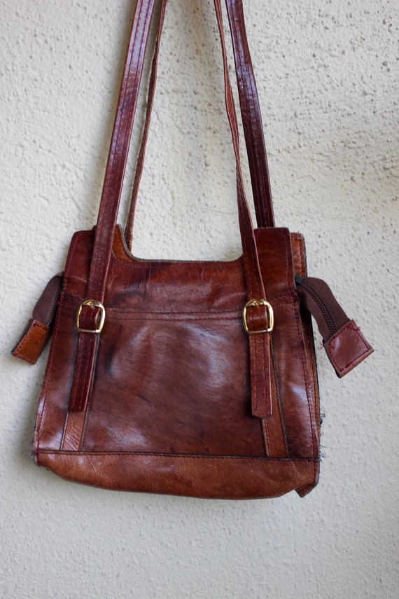 vintage 60s 70s boho brown leather purse hippie