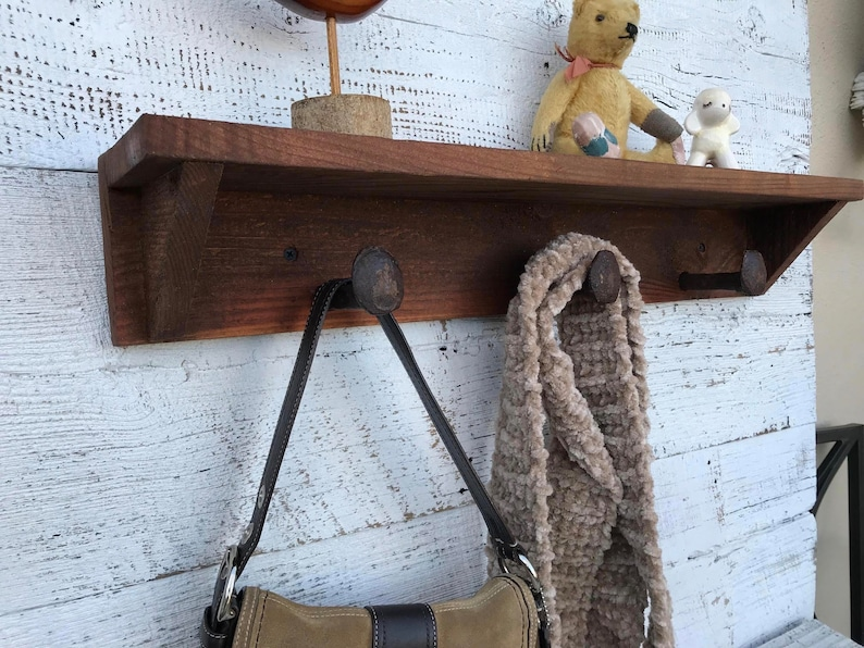 Incredible Wall Mount Shelf With Coat Hooks Mudroom Coat Hanger Coat Rack Entry Way Entryway Wooden Wall Shelving Storage Organizer 40 7 Spikes Interior Design Ideas Clesiryabchikinfo