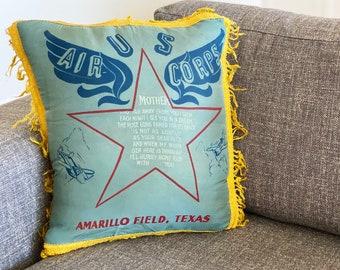 Vintage U.S. Air Corps Souvenir Pillow Cushion Case (1940s)