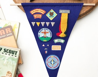 Boy Scouts of America Hanging Flag w/ Vintage Badges, Buttons, & Pins