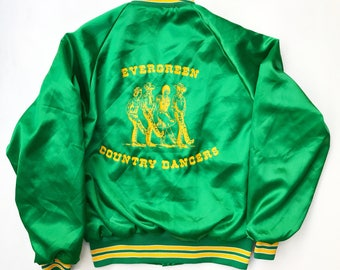 Vintage Evergreen Country Dancers Satin Jacket