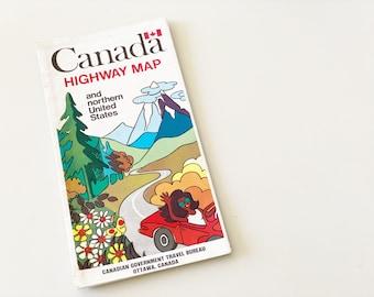 Vintage Canada & Northern US Road Map (1971)