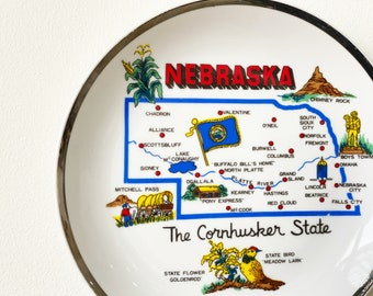 Vintage Nebraska Souvenir Wall Plate