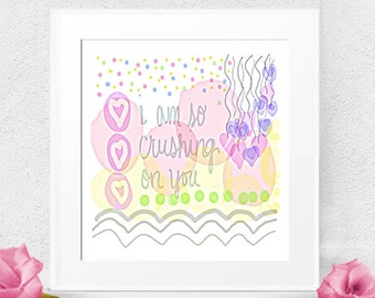 Instant Art, Digital Download, Pastel Digital Sketch, Crushing On You, Love Print, desk art, wall art, office art, card art, bedroom print