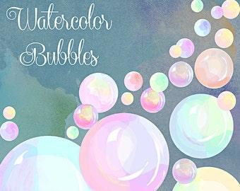 Watercolor Clipart, bubbles in watercolor, scrapbooking supplies, digital art, digital download, nursery art, nursery invitation art
