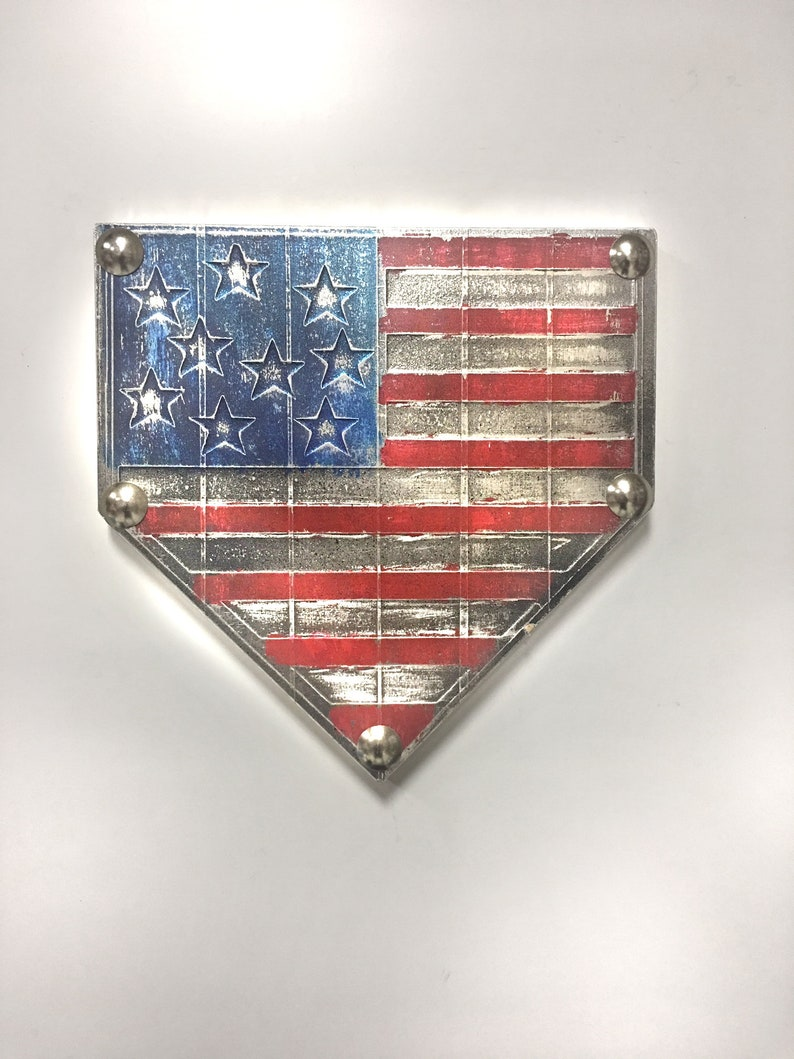 d2d7475e63e60 Style 2. Home Plate Baseball Patriotic Flag America USA American Softball  Original Foil Metal Tape Art Faux Steel Ready To Hang