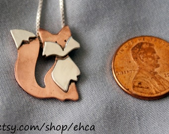 Handmade Little Red and Silver Fox Necklace / Little Golden and Silver Fox Necklace / Little Silver and Silver Fox Necklace