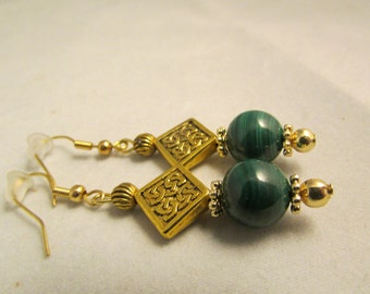 Jade and Gold Plated Earrings