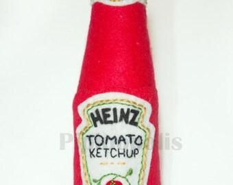 Ketchup bottle textile sculpture