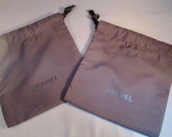SET of 8 ~ Authentic Chanel Black Drawstring Pouches - Chanel Black on Black Drawstring Pouches - Gift Packaging