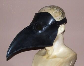 Black Leather Plague Doctor Mask