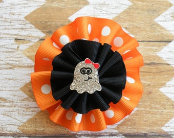 "3"" Cutie Ghost Bow, Ghost Clippie, Halloween Bow, Orange Bow, Fall Bow, Black bow, Halloween Clippie, Thanksgiving Bow, Yellow Clippie"