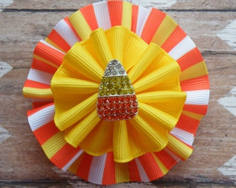 "3"" Candy Corn Bow, Candy Corn Clippie, Halloween Bow, Orange Bow, Fall Bow, Halloween Clippie, Thanksgiving Bow, Yellow Clippie"
