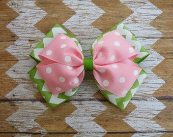 """5.5"""" Apple Green and Pink Layered Bow, Pink Bow, Apple Green Bow, Christmas Bow, Strawberry Bow, Back to School, Fall Bow"""
