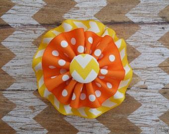 "4"" Yellow and Orange Bow, Beach Bow, Sun Bow, Yellow Chevron Bow, Candy Corn Bow, Halloween Bow"