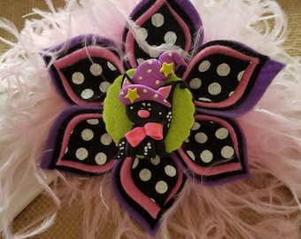 "4"" Halloween Kitty Bow, Kitty Clippie, Cat Bow, Cat Clippie, Halloween Bow, Halloween Clippie"