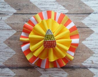 "3""  Candy Corn Bow, Halloween Bow, Candy Corn Stripe Bow, Orange Bow, Orange and Yellow Bow, Yellow Bow, Halloween Bow"