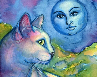 White Cat Mother Moon Magical Fine Art Print of my Original Painting