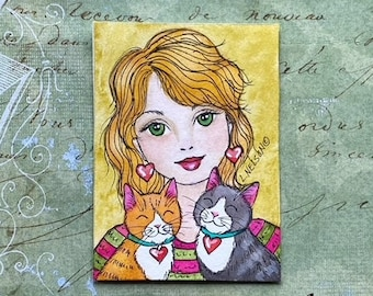 Original Fun Pet Art ACEO  - Cat Lady Woman and Two Cats - Cute Gift for the Cat Lover