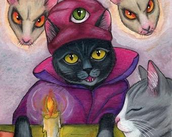 Black Cat Oracle Medium Seance Fun and Spooky Fine Art Giclee Print of my Original Illustration