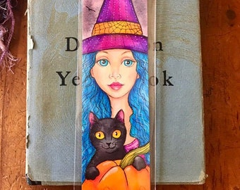 Original Art Halloween Witch and Black Cat Bookmark Wall Hanging Ornament ~ Painting ~ Illustration