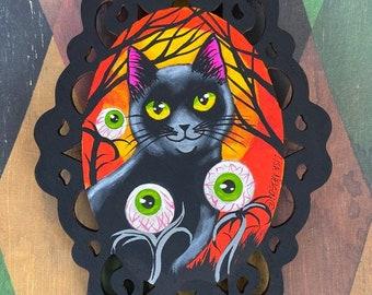 Halloween Black Cat in the Spooky Eyeball Garden Original Art Painting Ornament