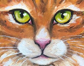 Original Oil Painting Orange Tiger Tabby Cat Art Green Eyes Macro Face Miniature