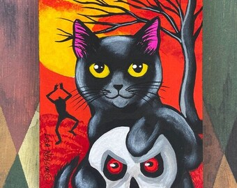 Halloween Black Cat and Headless Zombie Spooky Fun Original Art Painting Ornament
