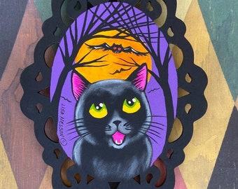 Halloween Black Cat and Bats Spooky Fun Original Art Painting Ornament