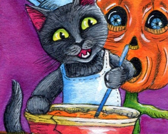 Halloween Black Cat and Pumpkin Pie Happens #2 ACEO Archival Giclee Print of my Original Painting