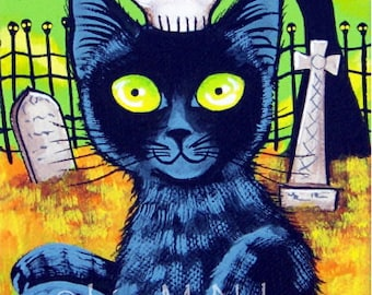 Zombie Black Cat Halloween Cemetery ACEO Archival Giclee Print of my Original Painting