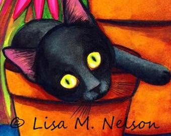 Black Cat Kitten in a Flower Pot Fine Art Print of my Original Painting