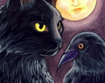 Black Cat, Crow and Mother Moon Folk Art ACEO Archival Print of my Original Painting