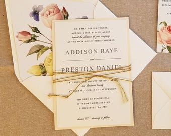 Elegant Wedding Invitation, Classic Vintage Wedding Invitation Suite, Blush, antique floral, Gold, garden wedding, country wedding, RC18011